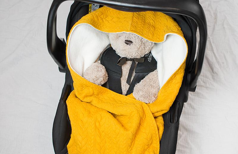 Babywrap senapsgul – filt till babyskydd