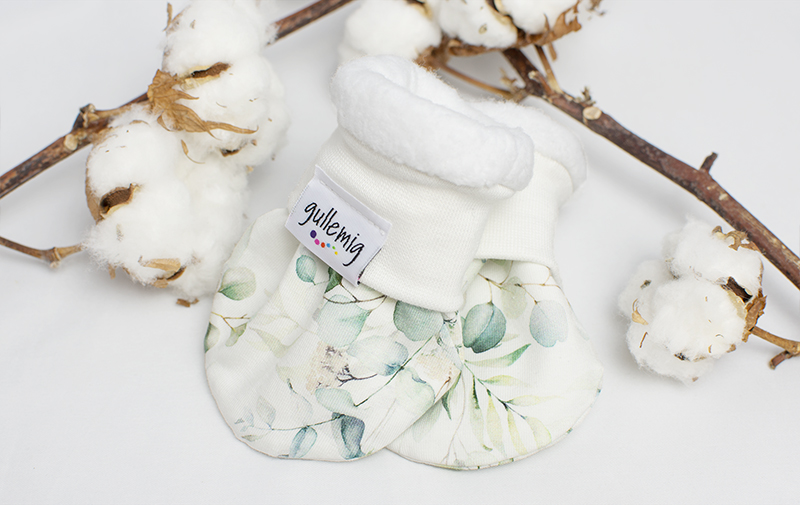 Fodrade bebisvantar, 100% ren bomullsfleece