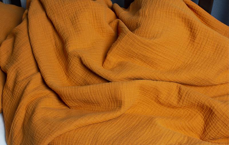 Bäddset till spjälsäng, 100% ekologisk bomullsmuslin - Djup orange