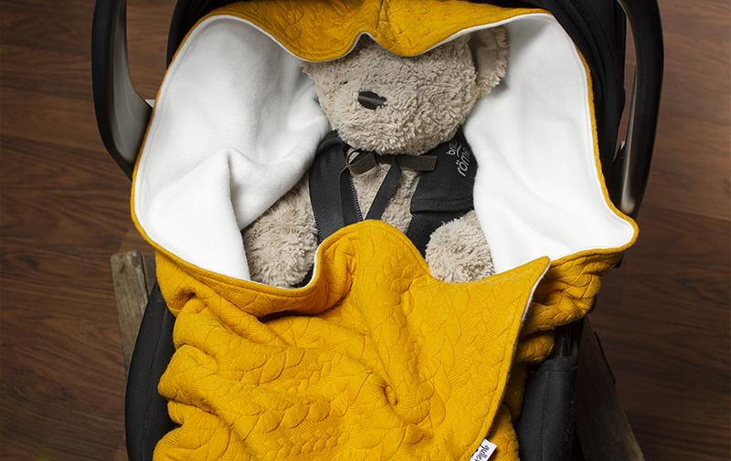 Tunnare babywrap, filt till babyskydd, barnvagn och bilbarnstol med ekologisk bomull