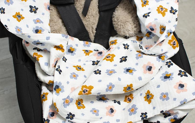 Tunnare babywrap till babyskydd och barnvagn - Ekologisk bomullsmuslin
